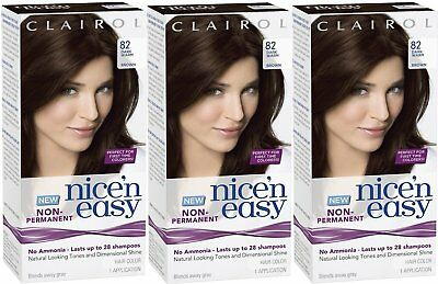 LOT OF THREE New! Nice 'n Easy Non-Permanent Hair Color #82 Dark Warm Brown