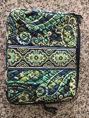 Vera Bradley Laptop Computer Case Sleeve Soft Padded Bag. Blue and Green