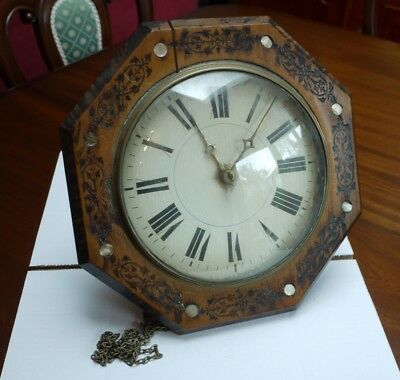 19th Century Antique Wall Clock with Painted Dial.