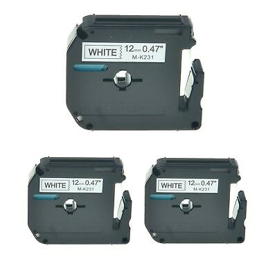 """3PK M-K231 MK231 Black On White Label Tape For Brother P-Touch PT-110 12mm 1/2"""""""