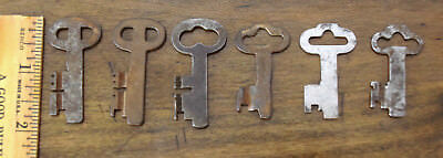 6 (Six) Antique Vintage Smokehouse Wrought Iron Padlock Lock Keys