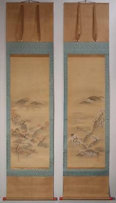 #9474 Japanese Twin Hanging Scroll: Spring and Autumn Landscape