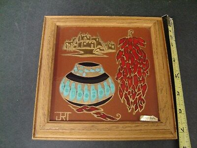 Cleo Teissedre Framed Art Tile Chili Pepper Pot Design JRT Lower Left 22 kt Gold