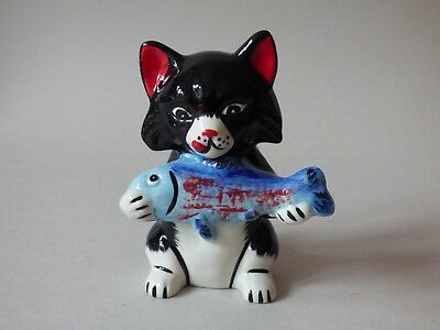 Rare Lorna Bailey Stylised Good Catch Sport Fish Fishing Cat 1/4 Only Free Uk Pp