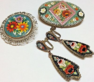 LOT of 3 Antique Vintage Italy Micro Mosaic Glass Tile 2 Brooches & EARRINGS