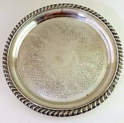 """Eales 1779 Sheffield Silver Plate 8.25"""" Serving Tray"""