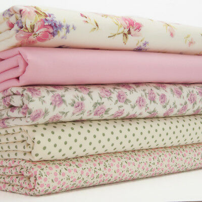 100% Cotton Fat Quarter Fabric Bundle FLORENCE ROSE SPOT & DITSY FLORAL Material