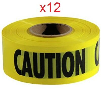"12 Rolls Empire 71-1001 Yellow Caution Barricade Tape 1000' Roll 3"" Wide"