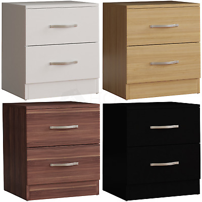 Riano Bedside Cabinet 2 Drawer Metal Handles Runners Bedroom Furniture Storage