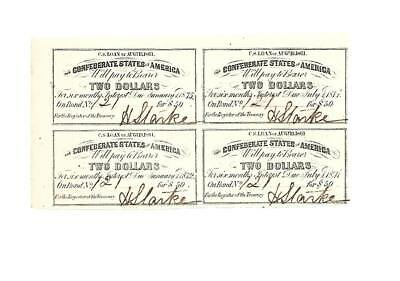 "4 Orig. Confederate  ""WAR BOND COUPONS"" 1861 UNC."