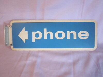 Vintage Metal Phone Sign with Arrow