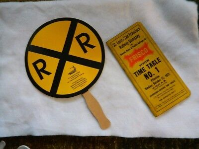 Vintage Railroad Hand Fan Advertisement And Frisco Time Table No.1 1971 Safety