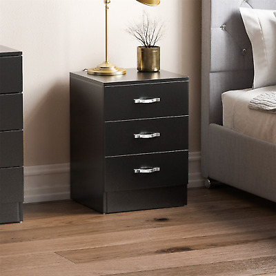 Riano Bedside Cabinet Chest Of Drawers Black 3 Drawer Metal Handles Runners