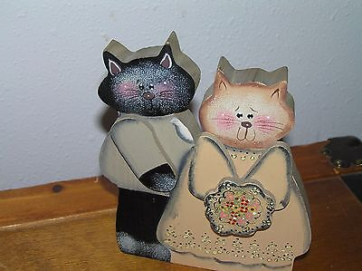 Handpainted Wood Kitty Cat Wedding Couple Plaque or Shelf Sitter Decoration –