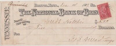 The National Bank of Bristol TN, December 1899 5.00 Check. 2 Cent Battleship