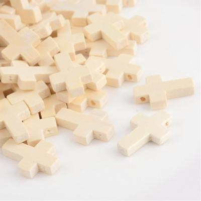 50 Wood Cross Pendant, Natural, Unfinished Small Wood Cross, 22mm x 15mm S660-02
