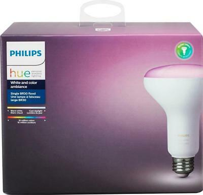 Philips - Hue White and Color Ambiance BR30 Wi-Fi Smart LED Floodlight Bulb