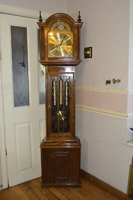 A Quality Fenclocks Three Tune Long Cased Clock With Moon Roll Dial *serviced*