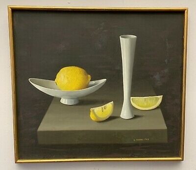Randolph Brooks 1962 Oil Painting On Canvas Of Still Life After Lemon