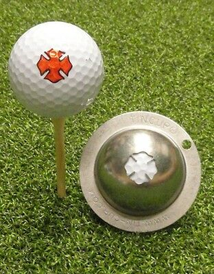 1 only TIN CUP GOLF BALL MARKER - FIREFIGHTER - MALTESE CROSS   EASY TO DO