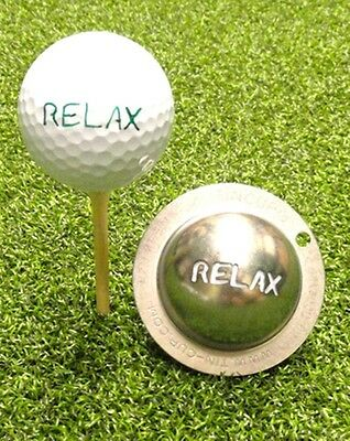 1 only TIN CUP GOLF BALL MARKER - RELAX   EASY TO DO & yours for life