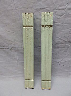 Pair Vtg Architectural Beaded Porch Flat Baluster Green Shabby Old Chic 686-17P