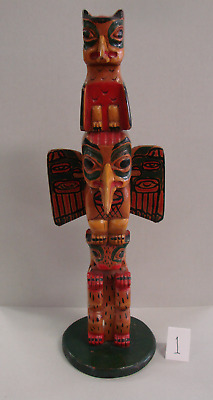 Old Pacific Northwest Coast Polychrome Carved Totem Pole Sign Chief Kyan Tlingit
