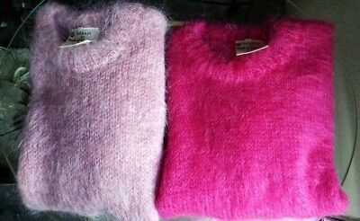 Lot of 2 Vintage Tam O Shanter Mohair Sweaters Pink and Hot Pink Large Medium