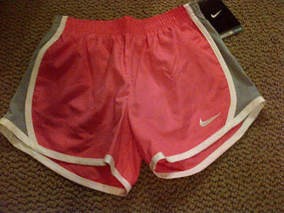 NIKE DRI-FIT GIRLS ATHLETIC SHORTS SIZE 6X 6-7 yrs L large PINK WHITE GRAY NEW