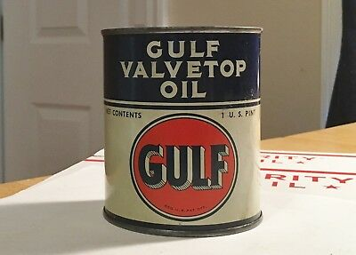 Vintage 1950's-60's GULF Valvetop Oil Can (1 U.S. Pint) All Original And Beauty!