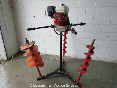 Groundhog C-71-5 Two Man Earth Drill Post Hole Auger Digger With 3 Bits & Stand