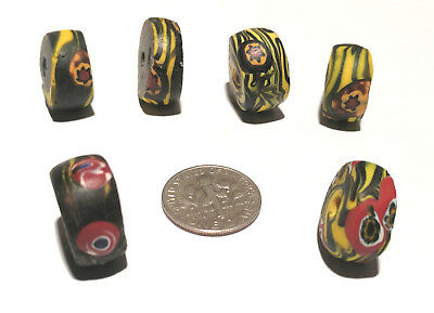 6 Antique/Vintage Venetian Millefiori Swirled African Glass Trade Beads
