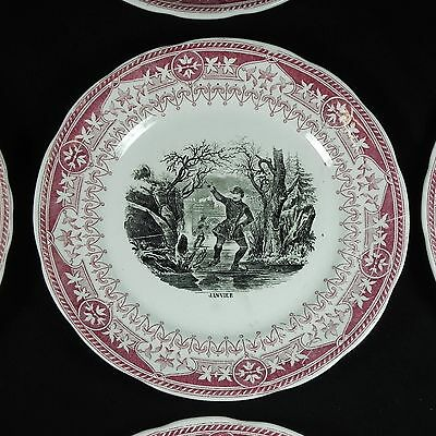 "19t C Sarreguemines Month 7.75"" Plate Black Red Transfer Birthday France Choice"