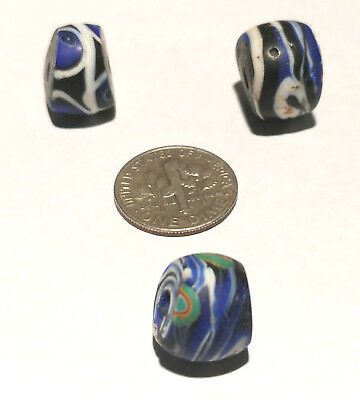 3 Antique/Vintage Venetian Millefiori Swirled African Glass Trade Beads