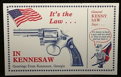 Postcard It's The Law in Kennesaw GA Required to Own Gun Living in City