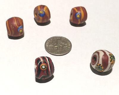 5 Antique/Vintage Venetian Millefiori Swirled African Glass Trade Beads