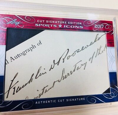 FRANKLIN D ROOSEVELT 1/1 CUT SIGNATURE FROM LEAF SPORTS ICONS WOW 32nd President
