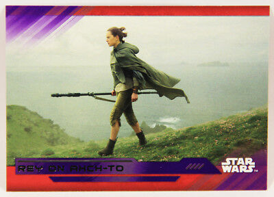 L002279 Star Wars Last Jedi Trading Card / PURPLE Parallel #74 / Rey On Ahch-To