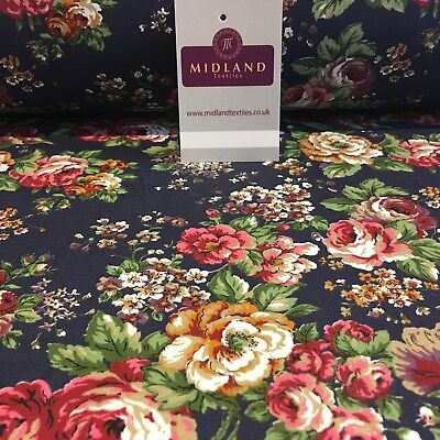 """Navy Blue Vintage floral shabby chic 100% cotton printed Fabric 44"""" Wide MH842"""
