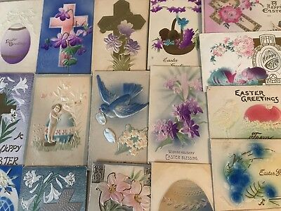 Lot of 19 Vintage Heavy Embossed Airbrushed Easter Holiday Postcards-p401