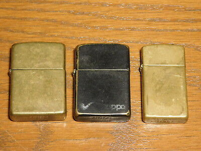 Lot of 3 Vintage Zippo Lighters, All Brass, One Pipe Lighter, Bradford PA