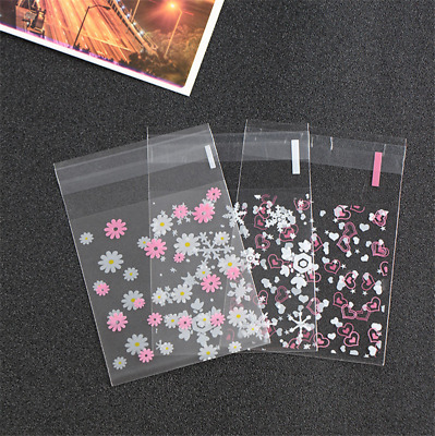 100X Heart Chrysanthemum Snow Self Adhesive Pouch Party Candy Biscuit Cookie Bag