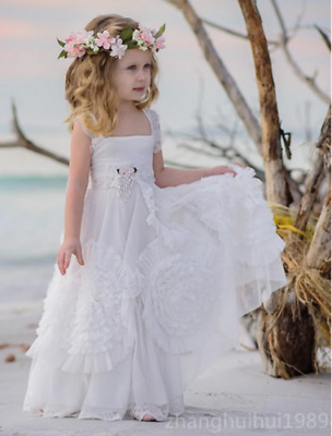 c6677eb3f White Tulle Boho Flower Girl Dress Beach Wedding Princess Pageant Birthday  Gowns