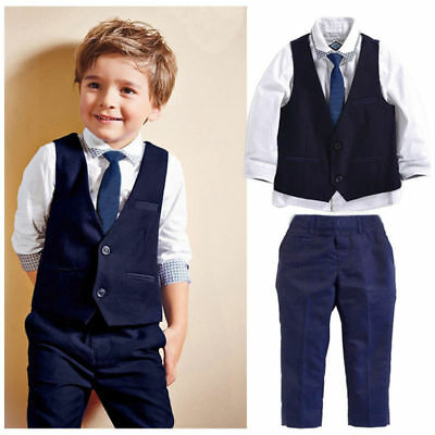 █  Child Toddler Kids Boys Outfits Tops Waistcoat Tie Pants Formal Suit Clothes