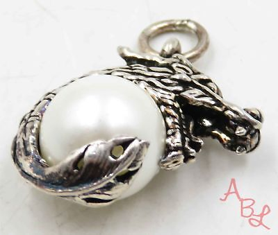 Sterling Silver Vintage Flame Throwing Dragon Charm Pearl Pendant 7.7g 715779