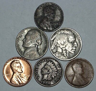 Old US Coin Lot. Silver, Indian Head Pennies, Buffalo Nickels, Lot of 6 Coins!