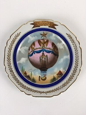 Antique French Plate Balloon Ascent of Madame Blanchard Mariage de Napoleon 1810