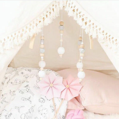 Cute Baby Crib DIY Mobile Bed Bell Toy Holder Arm Bracket Wind-up Wooden Bead CU