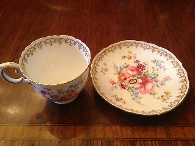 Crown Staffordshire England's Bouquet Footed Cup & Saucer Flowers Tan Scrolls