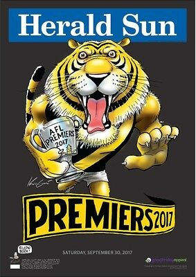 2017 AFL RICHMOND black PREMIUM LIMITED EDITION PREMIERSHIP POSTER MARK KNIGHT